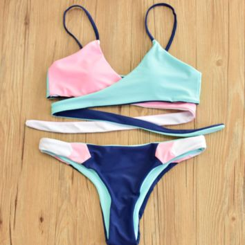 Fashion Multicolor two sides wear back knot cross contrast two piece bikini