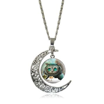 Alice in Wonderland Cheshire Cat Glass Cabochon Pendant Necklace Silver Hollow Crescent Moon Chain Necklace Women Jewelry