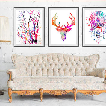 Dream Catcher, Deer, Tree SET Watercolor Print, Home Decor, set art, Christmas Gifts, art print, Buy 2 Get 1 FREE!!! Special offer,