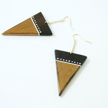 Hand-Painted Wooden Triangle Dangle Earrings in Metallic Gold and Walnut