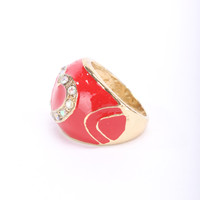 Red Diamond Gemstone Centered Heart Design Ring