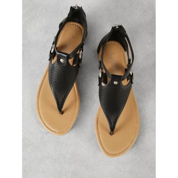 Perforated T-Strap Flat Sandal
