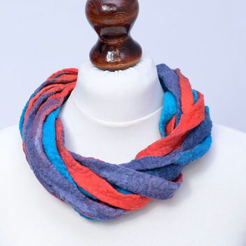 Soft, twisted, multi strand, ribbon necklace in red & blue - felted wool, multistrand, twist necklace - felt jewelry [N96]