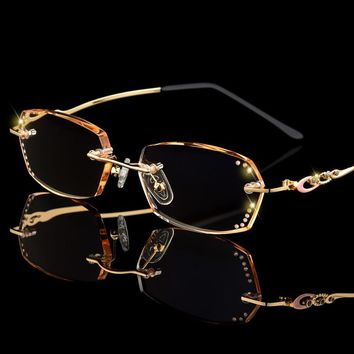 5e69be98536 Luxury Rhinestone Reading Glasses Women Diamond Cutting Rimless Glasses Men  Women s Golden Readers Presbyopic Eye Glasses