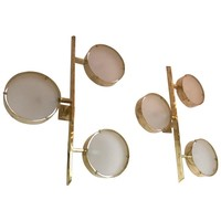 Contemporary Pair of Brass Sconces Three Circle, Italy