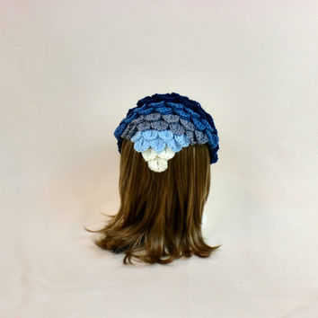 Blue Hair Bandana Kerchief - Crochet Ombre Hanky Head Scarf - Rockabilly Triangle Tie -  Headband Crocodile Stitch