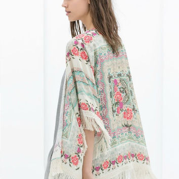Floral Print Bat Sleeve Fringed Cardigan