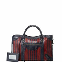Balenciaga Classic Colorblock Striped Edge City Bag