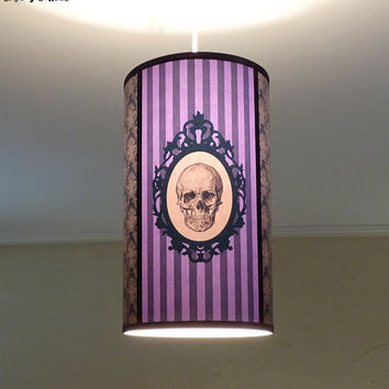 Purple Skull lamp shade lampshade ceiling light Baroque Skull - unique lighting,lighting hanging chandelier,violet lamp,gothic decor,,damask