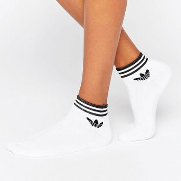 adidas Originals 3 Pack White Ankle Socks With Trefoil Logo at asos.com