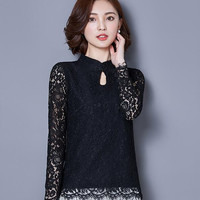 casual lady lace shirt fashion women clothing long-sleeved lace tops 2016 sexy hollow out solid color lace blouse plus size