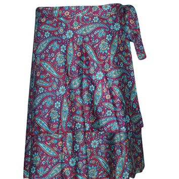 Women's Wraps Skirt Pink/Blue Printed Premium Silk Sari Reversible Boho Short Skirts