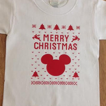 Free//Fast Shipping for Mickey or minnie Merry Christmas Ugly Christmas T Shirt