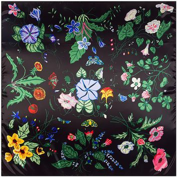 Twill Silk Scarf Grass Flower Petunia Cecil Pattern Bandana Print Flora Wrap Pretty Colorfor Woman Lady Autumn Winter 90*90cm