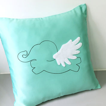 Flying Elephant Mint Decorative Pillow Cover. Cute Animal Light Green Wonderland Cushion Cover. 17inch Children Room Pillow. Nursery Decor