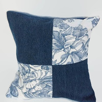 Denim, Blue and White Four Patch Pillow Cover 16 Inch Square Upcycled 16 X 16