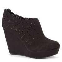 New Look Mobile | Black Cut Out Wedge Shoe Boots