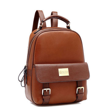 Vintage Brown Leather Unique School Backpack