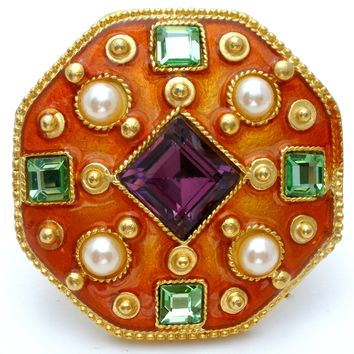 Gem Craft Enamel Brooch with Enamel & Rhinestones