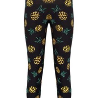 Becky Black Tshirt And Pineapple Lounge Set