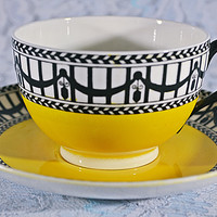 Royal Worcester Teacup And Saucer, Art Deco, Yellow And Black Cup And Saucer
