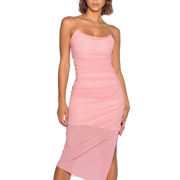 Emelia Salmon Pink Wired Bustier Ruched Chiffon Dress