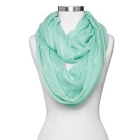 Women's Solid Checker Print Infinity Scarf - Mint