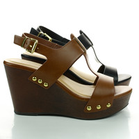 Support Open Toe Sandal, Wooden Platform Wedge w Metal Studs, New Women Shoes