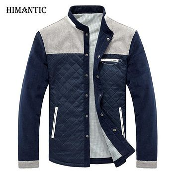Men Casual Jacket Men Stand Collar Patchwork Corduroy College baseball Jackets Casual Warm Autumn Coats