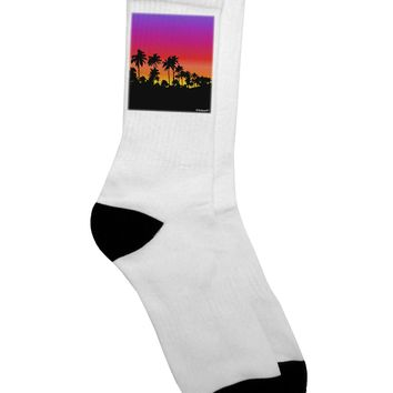 Palm Trees and Sunset Design Adult Crew Socks by TooLoud