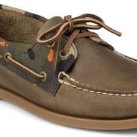Sperry Top-Sider Authentic Original Camo 2-Eye Boat Shoe Brown/Green, Size 7.5M  Men's Shoes