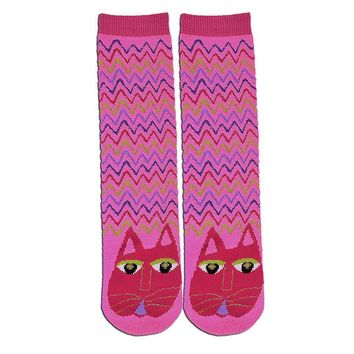 Cat K Bell Slipper Socks Pink Fuchsia New Women Size 9-11 Laurel Burch Fashion