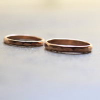 Rustic Wedding Band Set 14k Rose Gold