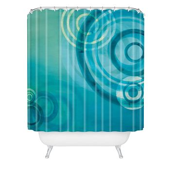Stacey Schultz Circle World Blue Shower Curtain