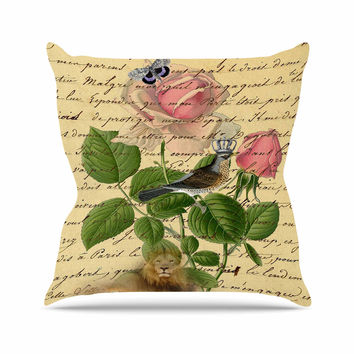 "Suzanne Carter ""Vintage Dream"" Floral Script Outdoor Throw Pillow"