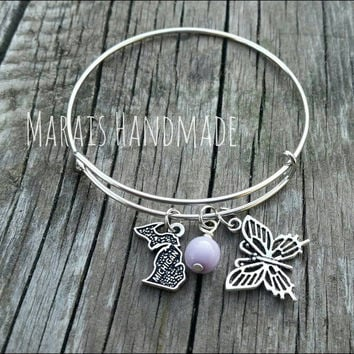 Michigan Bangle - Michigan charm bracelet with Lilac accent and butterfly charm