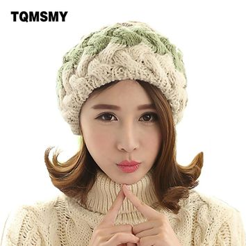 Fashion winter berets for women knitted wool flat caps french style vintage real rabbit fur ball beanie Hat ladies classic beret