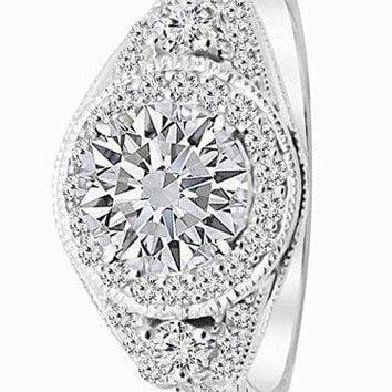 .1.78 Ctw 14K White Gold GIA Certified Round Cut Three Stone Vintage with Milgrain & Filigree Bridal Set with Wedding Band & Diamond Engagement Ring, 1 Ct G-H VS1-VS2 Center