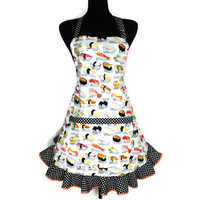 Sushi Menu Apron ,  Retro Japanese Kitchen Decor ,