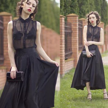 Asymmetrical Ankle-Length Pleated Expansion Lace-Up Goth Maxi Skirt
