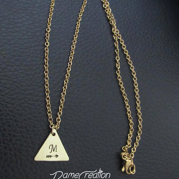 Tiny Triangle Necklace, Arrow Necklace Initial, Geometric Necklace Minimalist Jewelry, Arrow Necklaces for Women, Brass Triangle Necklace