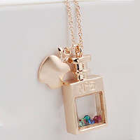 perfume bottle apple transparent Fancy Color Diamond necklace
