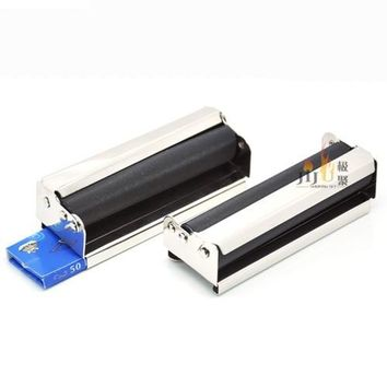 New 1set(1roller+50 paper) Automatic Tobacco Roller Tin Cigar CIGARETTE ROLLING MACHINE 78mm Regular Portable Smoking Pipe R010c
