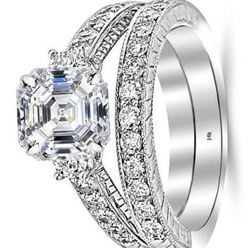 .2.53 Ctw 14K White Gold GIA Certified Asscher Cut Three Stone Vintage with Milgrain & Filigree Bridal Set with Wedding Band & Diamond Engagement Ring, 1.5 Ct G-H VS1-VS2 Center