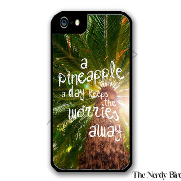 Palm Tree Background with a Pineapple Quote iPhone 4 or 5 Case