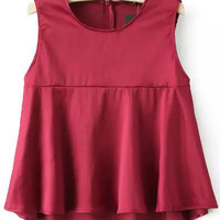 Red Sleeveless Ruffled Chiffon Cropped Top