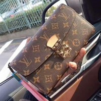 LV Fashion Casual Button bag Women Print Leather Purse Wallet Pink B-MYJSY-BB