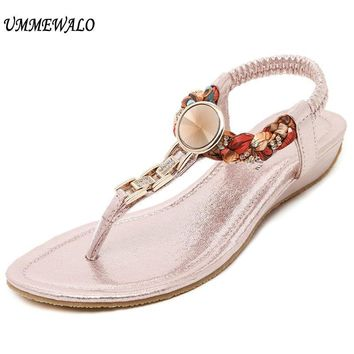 UMMEWALO Summer Sandals Women T-strap Flip Flops Thong Flat Sandals Rhinestone Metal Gladiator Sandal Shoes Zapatos Mujer