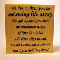 WEDDING SONG, Swing Life Away, Rise Against, Customized Quote Wood Block, Lyric Art, Gift, Anniversary, Home Decor, Wedding Song Art