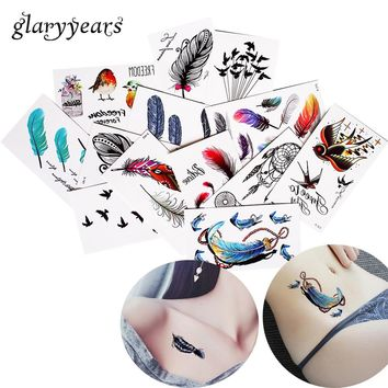 1 Sheet Colored Body Tattoo Waterproof Dreamcatcher Feather Design Waist Arm Decal Temporary Tattoo Sticker Freshness Style 2017